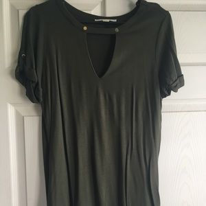 Army Green Choker Shirt